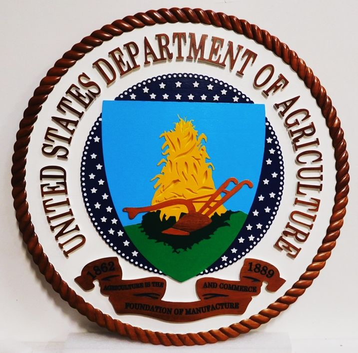 AP-6145 - Carved Plaque of the Seal of the US Department of Agriculture, 3-D Artist-Painted