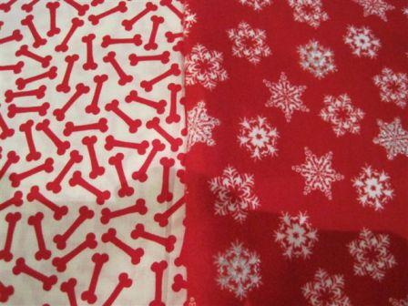 Bandana - Snowflake/bones (red flannel)