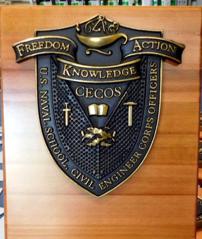 JP-2350 - Wall Plaque of the Seal/Crest for Naval Civil Engineer Corps Officers School, Brass-Plated on Redwood Base