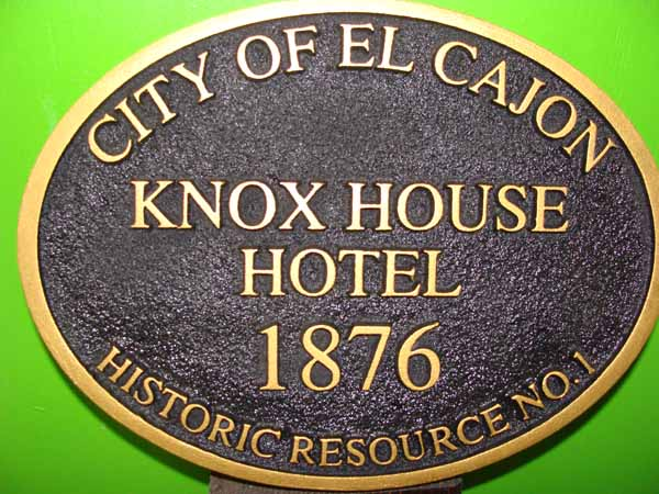 F15430 - Sandblasted, Sandstone Look. Carved HDU Sign for Historic Knox House Hotel, City of El Cajon