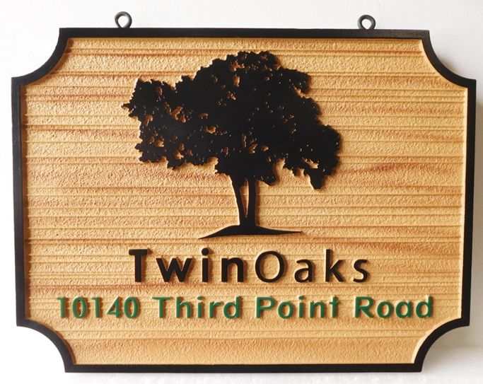 I18321 - Carved and Sandblasted  2.5-D Property Address and Name Sign, for the Twin Oaks Estate,  with Oak Tree as Artwork