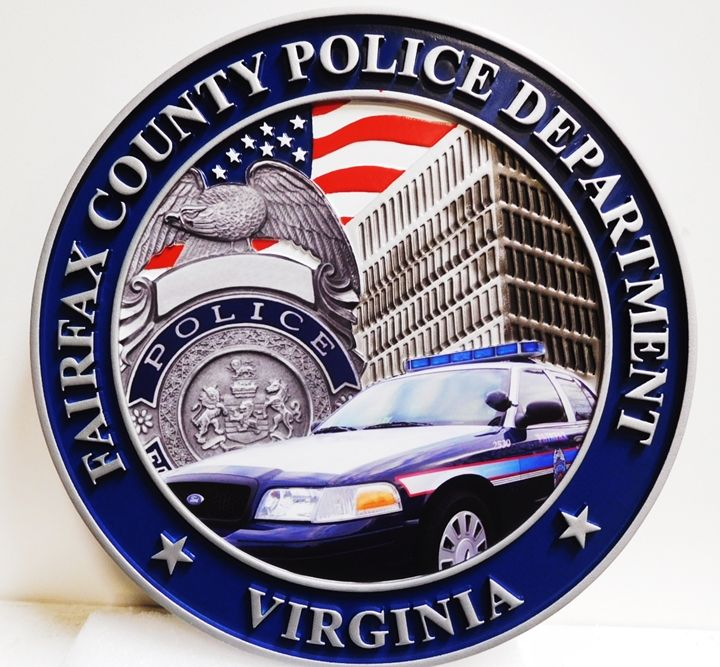 PP-3190 - Carved Plaque of the Seal of the Fairfax County Police Department, Virginia, 2.5-D with Giclee Artworkt