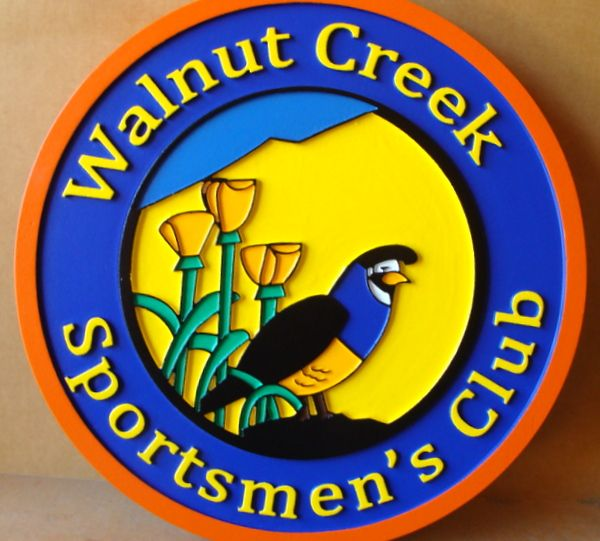 ZP3180 - Carved  Wall Plaque of the Seal of Walnut Creek Sportsmen's Club, Artist Painted