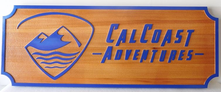 "SA28811 - Carved Redwood Sign for the ""Cal Coast Adventures""  Company, with Mountain Logo"