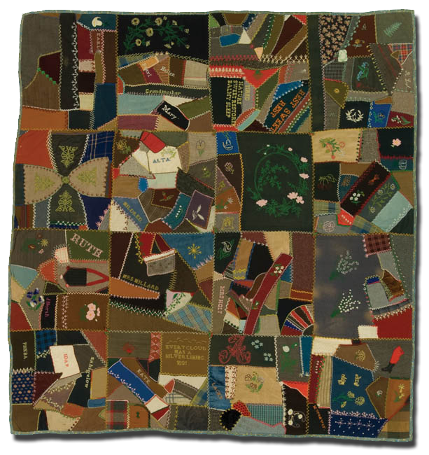 Crazy quilt, made by Mary Elizabeth North Ash, probably made in Michigan, United States, circa 1890-1900, 71.5 x 68 in, IQSCM 2008.011.0001