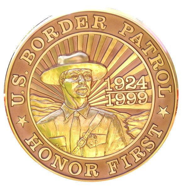 "U30339 - Carved HDU Wall Plaque ""Honor First""  for US Border Patrol"