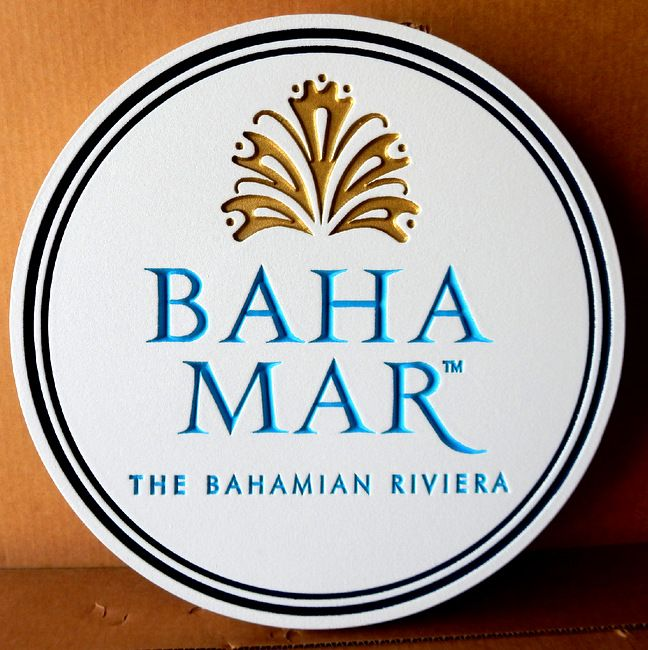 "T29123- Carved Engraved  HDU Sign  for the ""Baha Mar"" Resort in the Bahamas"