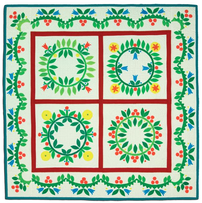 'Cherries Quilt,' c. 2000, stamp printed, 38.75 x 39.25 in, IQSCM 2010.014.0002