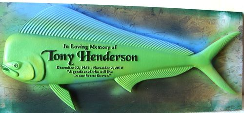 GC16640 - Carved Memorial Plaque in the Shape of a common Dolphinfish, 3-D Half-Relief Artist-Painted