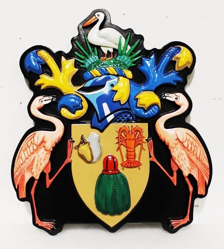 L21630 - Carved 3-D Bas-relief HDU Coastal Residence Coat-of-Arms / Crest Plaque, with Two Flamingos Holding a Shield with Sealife
