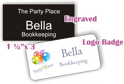 engraved and logo name badges
