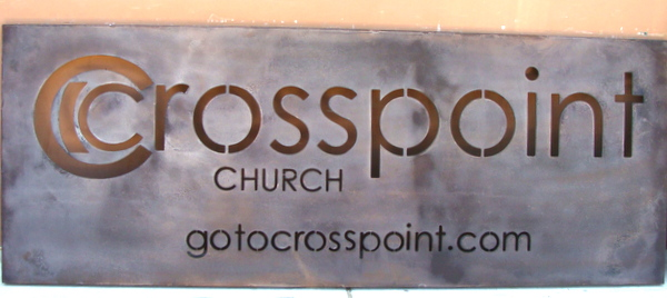 "M7549 - Antiqued & ""Rusted""  Aluminum Metal Church Sign, ""Cross-Point"""