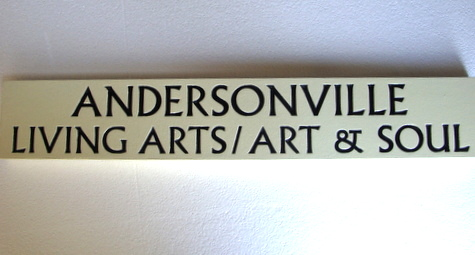 "SA28477 - Carved Business Sign,  ""Living Arts/Art and Soul"""