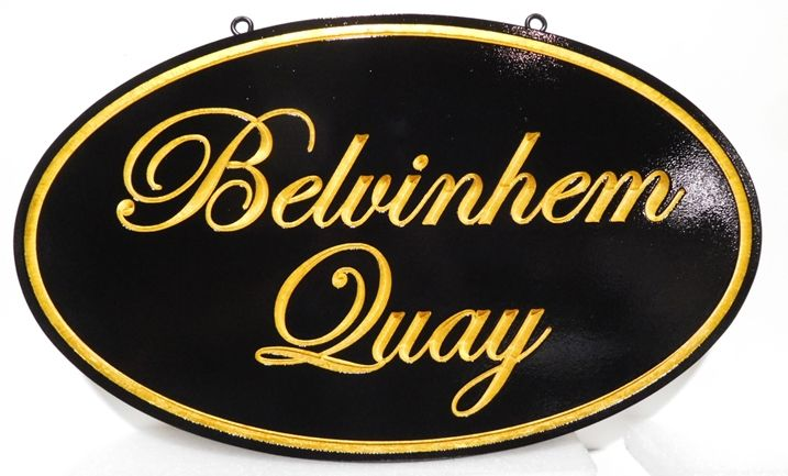I18169 - Engraved Elliptical Property Name Sign, with Gold Script Text