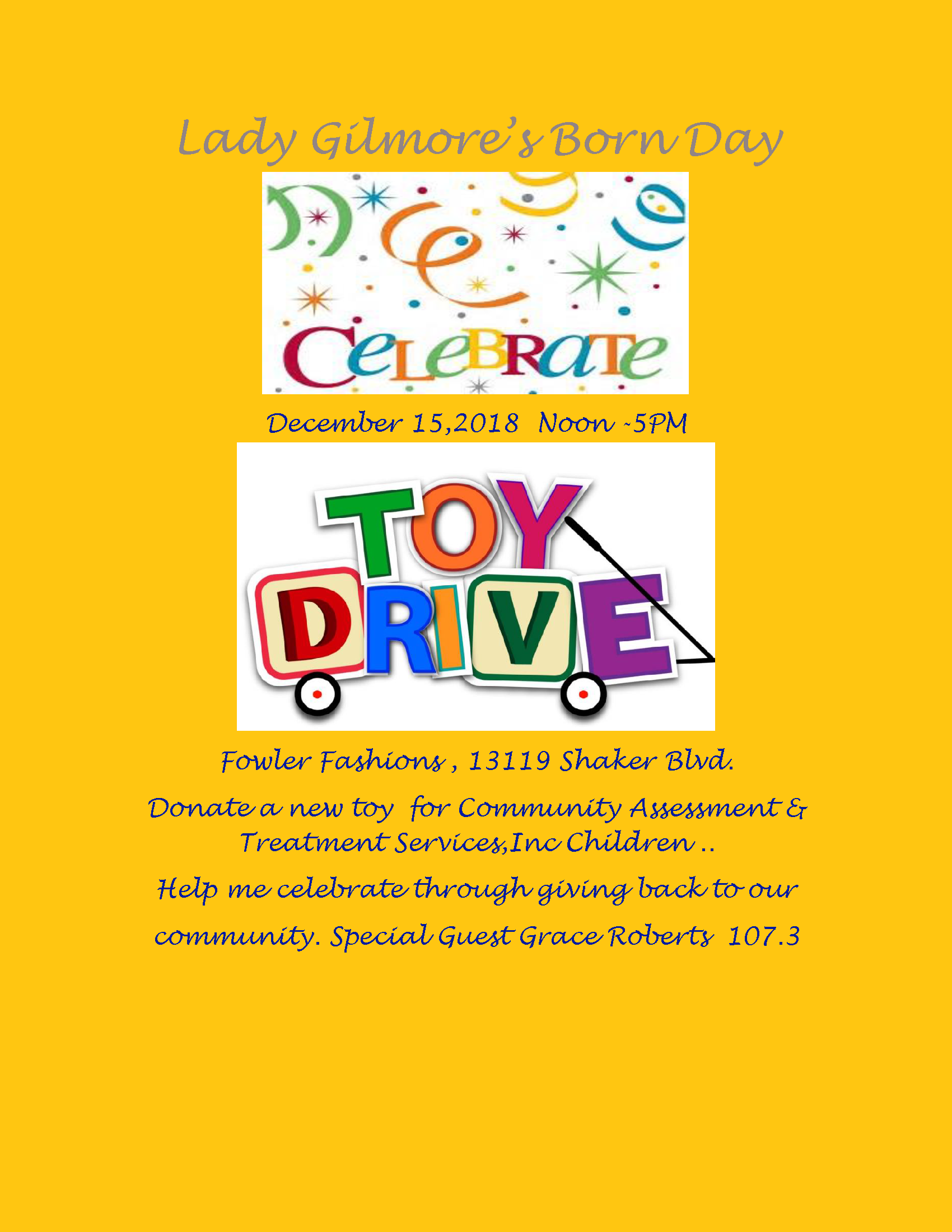 Lady Gilmore's Born Day Toy Drive