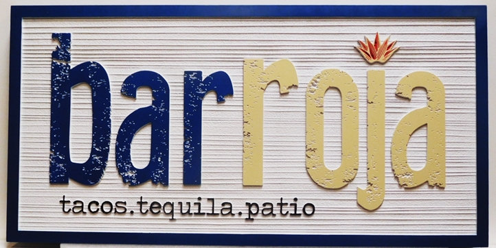 Q25736 - Carved and Sandblasted Wood Grain HDU Sign for the Bar Roja Restaurant (Tacos & Tequila Patio), 2.5-D Artist-Painted with Stylized Text