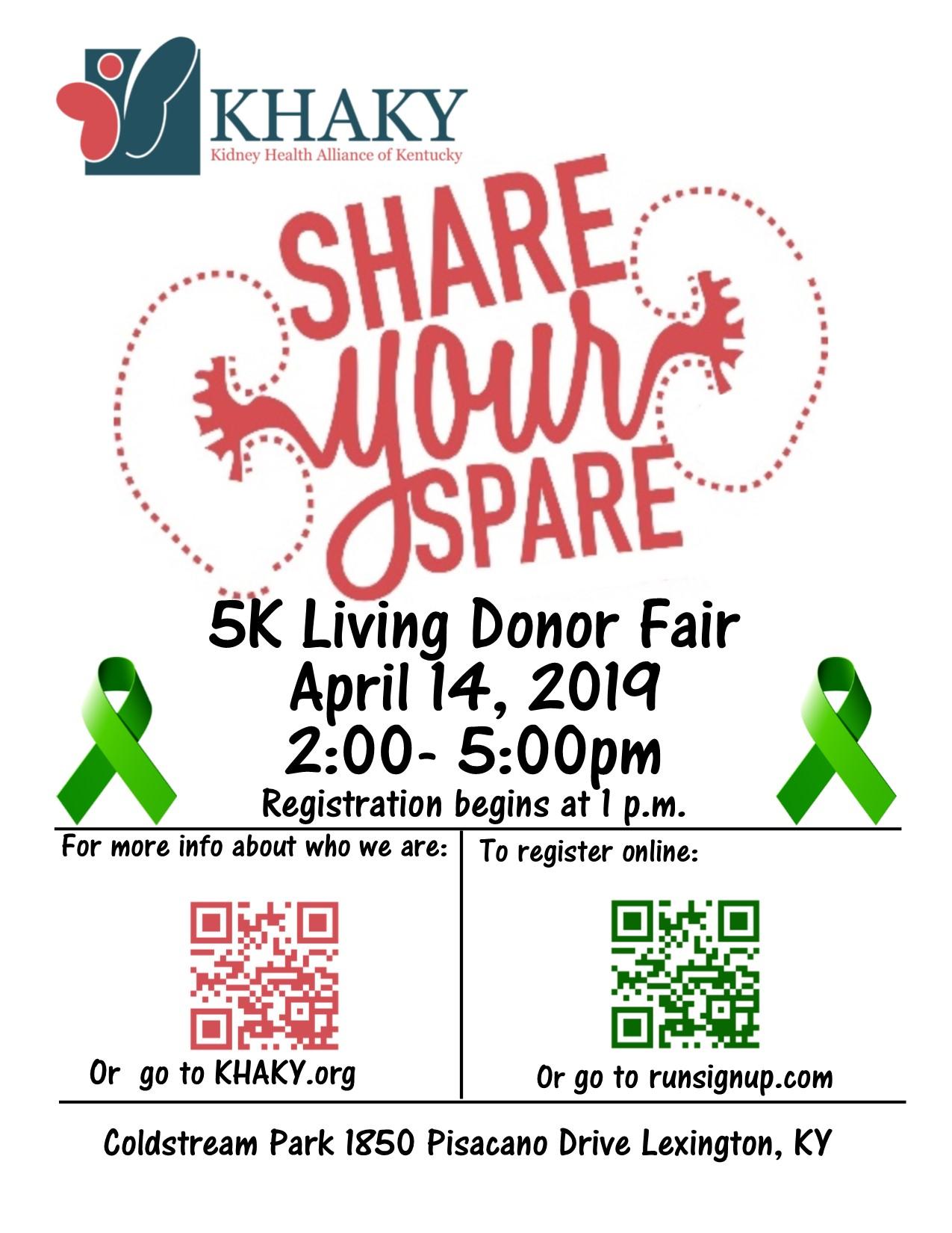 KHAKY Share Your Spare 5K & Living Donor Fair