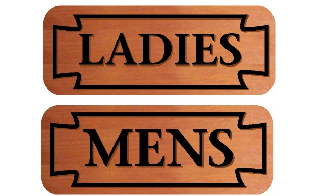 GB16797 - Engraved Cedar Wood Signs for Men's and Ladies' Restrooms