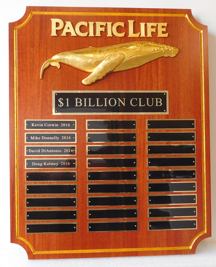 VP-1540 - Carved Perpetual Plaques for Pacific Life Insurance, Personalized, Gold Leaf on Mahogany Wood