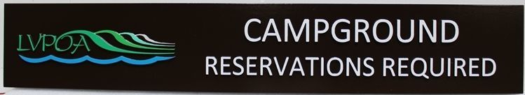 """G16171 - Carved 2.5-D Raised Relief HDU 2.5-D Sign """"Campground - Reservations Required"""""""