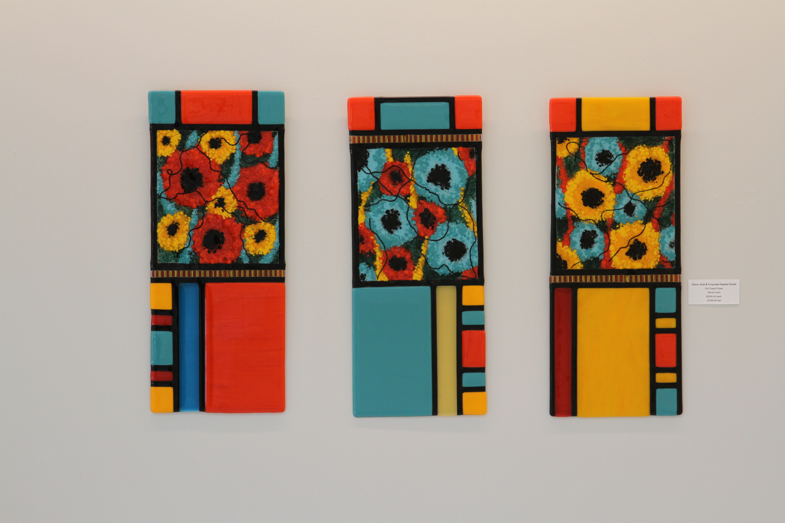 Flame, Gold & Turquoise Poppies Panel