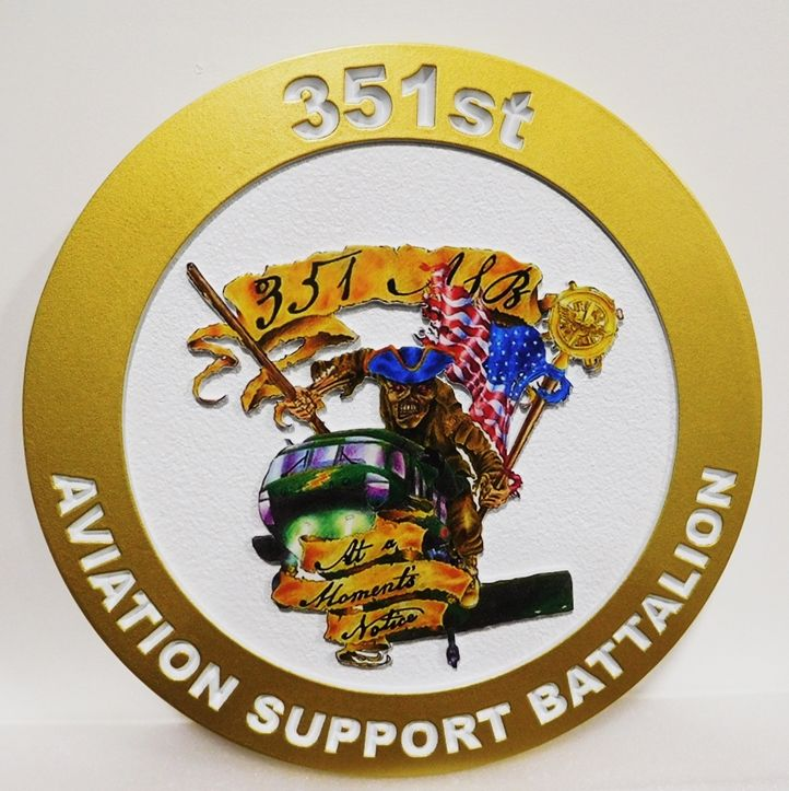 MP-2086 -  Carved Plaque of the Insignia/Crest of the 351st Aviation Support Battalion, US Army , 2.5D Artist Painted with Giclee Vinyl Print
