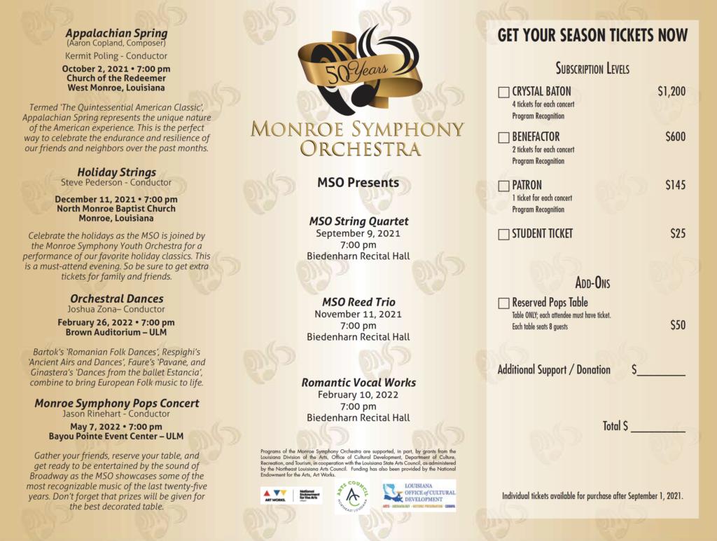 Monroe Symphony Orchestra 50th Season