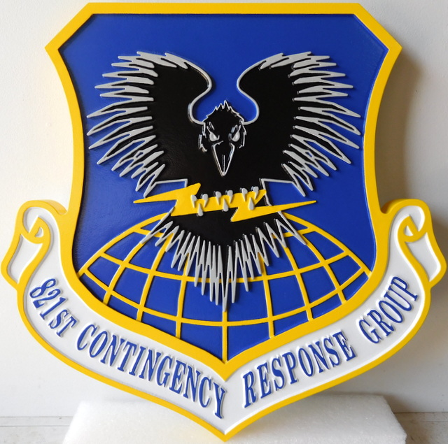 LP-3020 - Carved Shield Plaque of the Crest of the 821st Contingency Response Group, Artist Painted