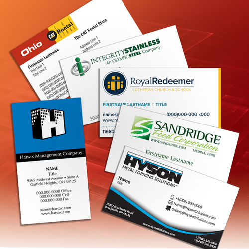 various business card templates arranged on a digital background