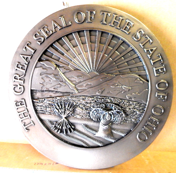 W32400B - Carved 3D HDU Wall Plaque, Silver metal Coated. of the Great Seal of the State of Ohio