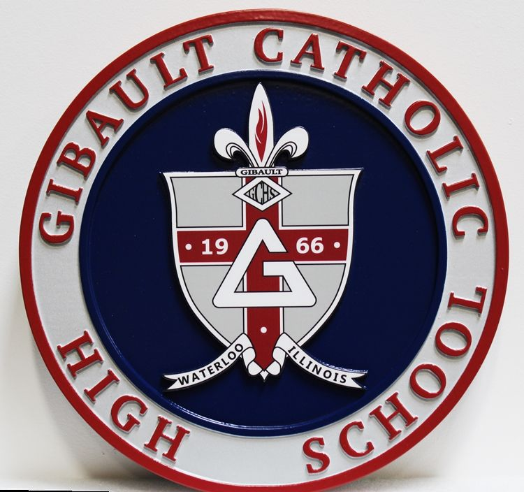 TP-1162 - Carved 2.5-D Raised Multi-Level Relief HDU Plaque of the Seal for Gibault Catholic School, Waterloo, Illinois