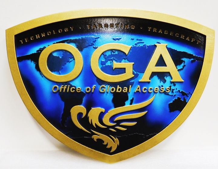 AP-3188 - Carved Plaque of the Seal of the Office of Global Access (OGA), 2.5-D Artist-Painted