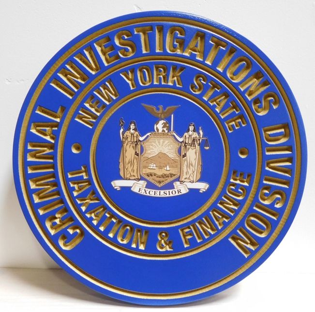 PP-3310 - Plaque of the Seal of the Criminal Investigations Division,  Taxation and Finance, New York State, 2.5-D Artist-Painted