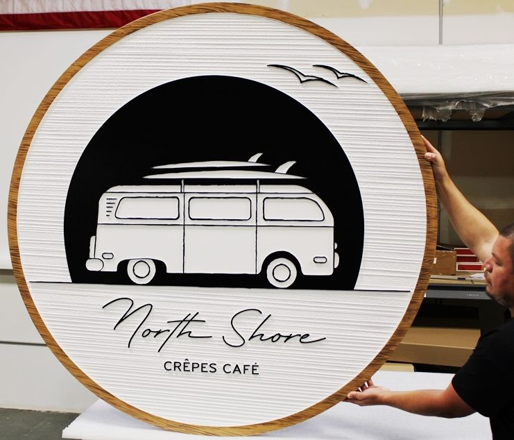 "Q25663 - Carved HDU  Sign for ""The North Shore Crepes Cafe""  with  a Minibus with Surfboard on its Roof as Artwork"