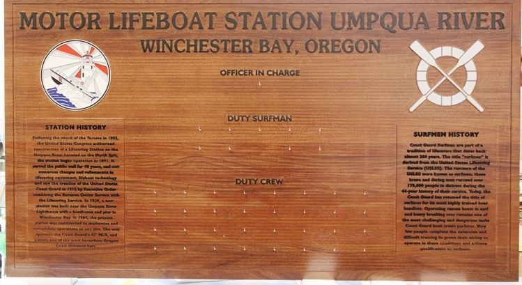 NP-2805- Chain-of-Command Board for the USCG Motor Lifeboat Station, Umpqua River, Winchester Bay, Oregon