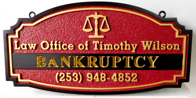 A10331 -  Carved, engraved  and Sandblated Law Office Sign for Bankruptcy Attorney