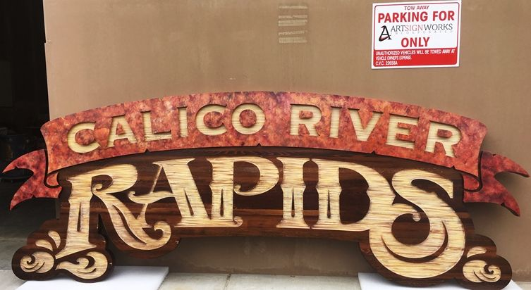 "GA16498- Large Engraved HDU ""Calico River Rapids""  Sign  for Knott's Berry Farm Amusement Park in California"