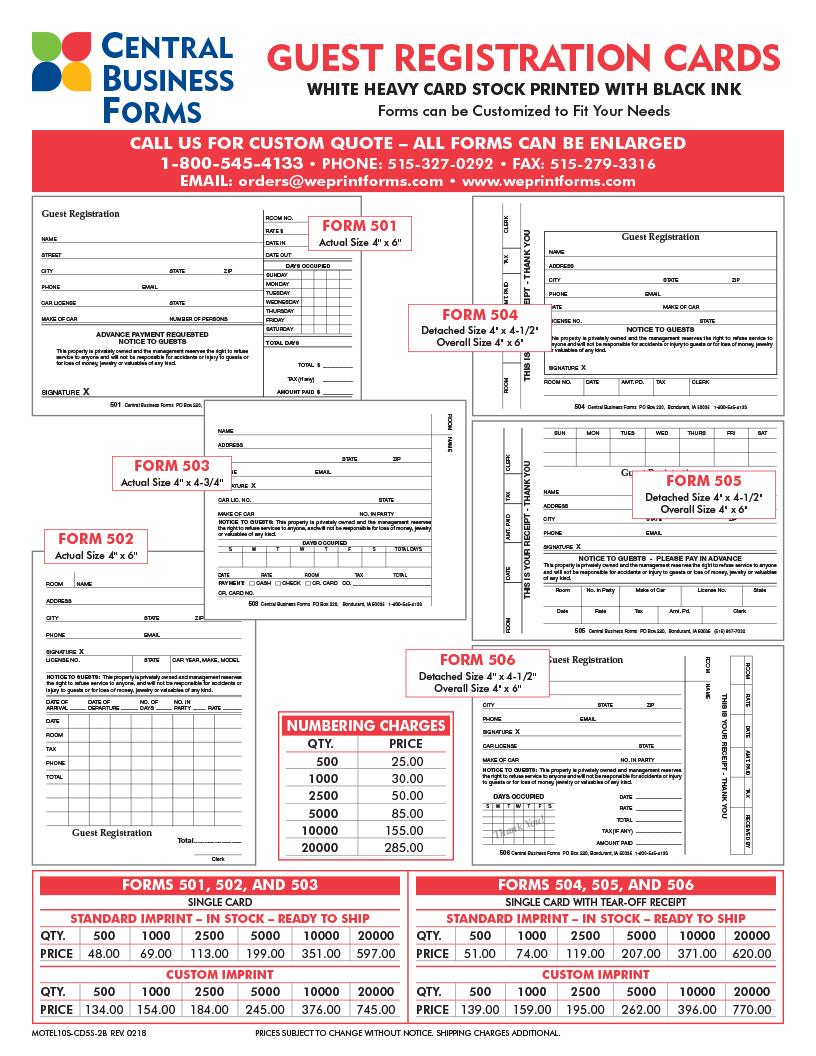 Clive Iowa Printer Custom Registration Forms Cards