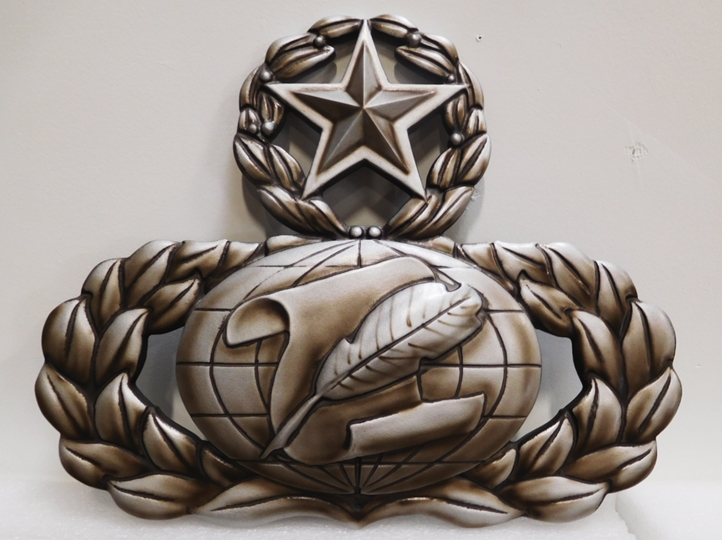 MP-1700 - Carved Plaque of US Army Star, Globe and Wreath  Emblem, 3-D, Metallic Silver ,Bronze and Black Paints
