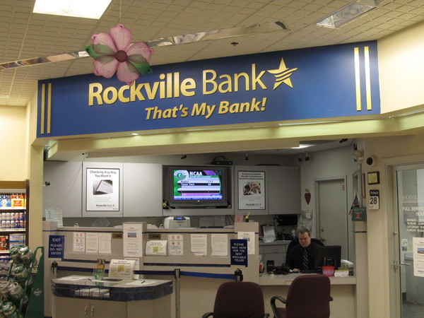 "Indoor Reception Area Lobby Sign,  Super Market Bank Branch, 3/8"" in.  Painted Acrylic, Logo, Letters and Graphics on Painted Sofit"