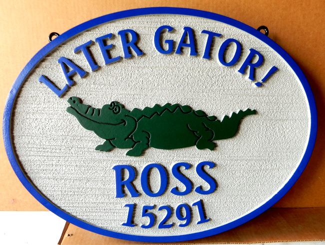 I18568 - Carved Residence Address and Name Sign, with Alligator as Artwork
