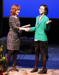Jeanie Thompson congratulates Bonny Chen, Honorable Mention, Original Poetry