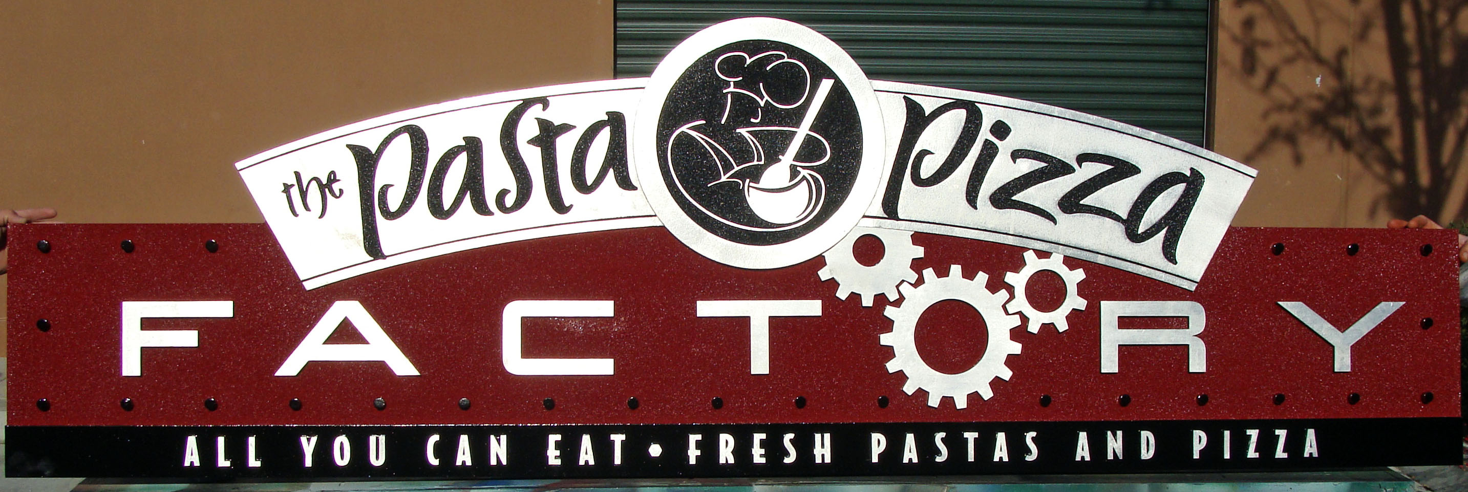 """Q25202 - Silver HDU Sign for """"Pasta Pizza Factory""""with Carving of Chef"""
