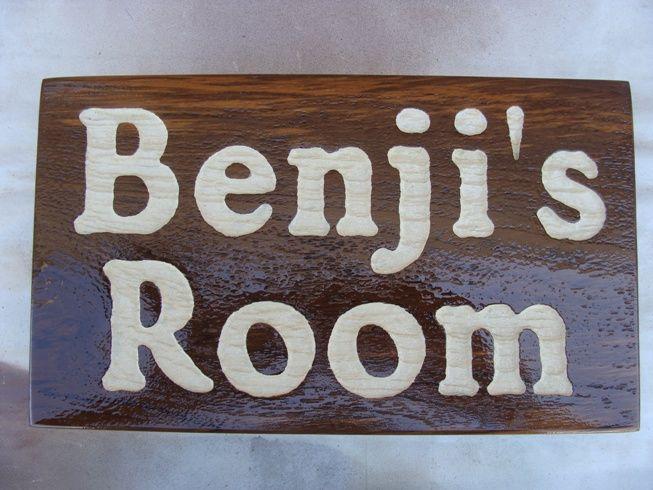 """JG907 - Carved Redwood Child's Room  Wall Plaque  """"Benji's Room"""""""