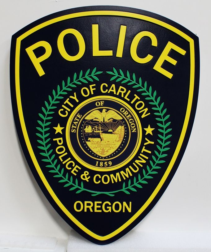 PP-2230 - Shoulder Patch of the Police of the City of Carlton, Oregon, 2.5-D Artist-Painted