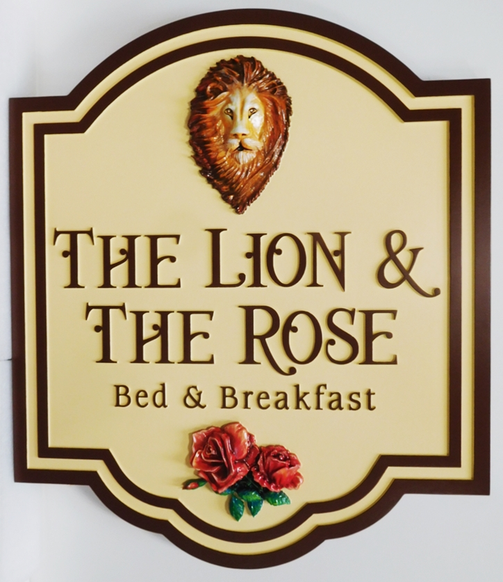 "T29020 - Carved HDU  Sign for the ""The Lion and the Rose""  B& B ,  3-D bas-Relief and Artist Painted Lion's Head and Roses as Artwork"