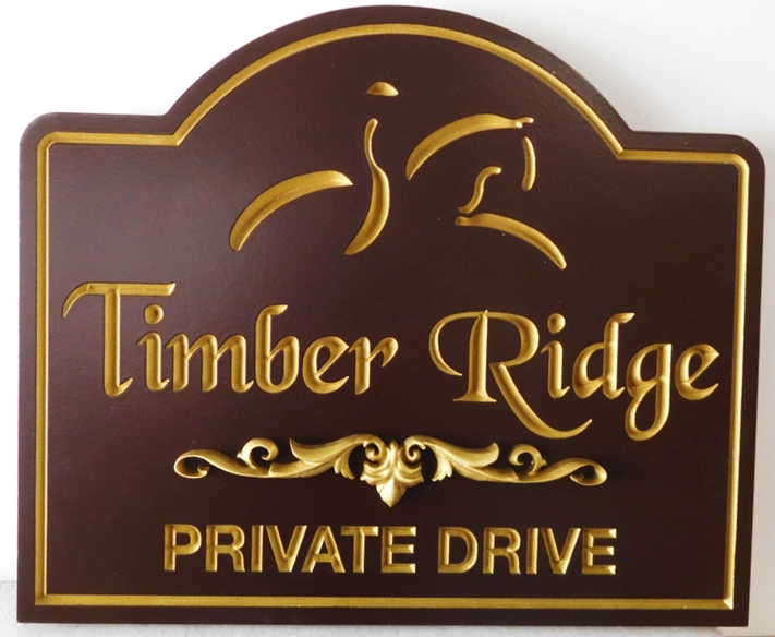 "P25312 - Carved HDU Entrance sign for  ""Timber Ridge""  with  a  Stylized Engraved  silhouette of a Horse and Rider,"