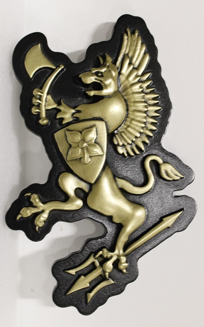 XP -1272 - Carved 3-D Bas-Relief Brass-Plated Plaque of a  MythicalAnimal with Shield and Sword, Made for a Coat-of-Arms