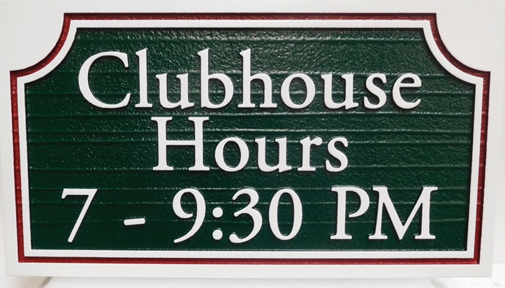 "KA20611 - Carved Clubhouse ""Hours""  Sign, Raised Text and Border with Sandblasted Wood Grain Background"