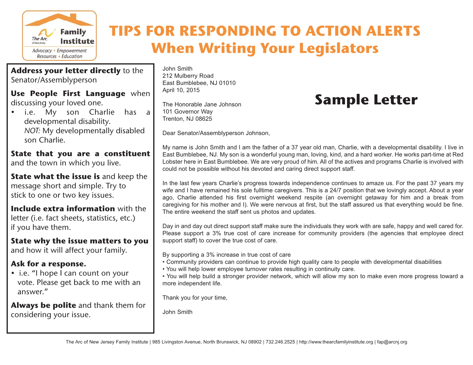 The arc of new jersey family institute resources fact sheets tips for responding to action alerts when writing 1betcityfo Choice Image